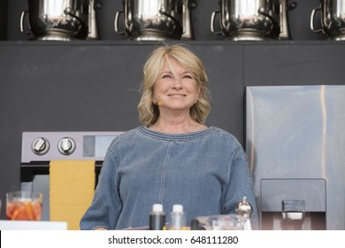 Napa, CA/USA: 5/26/17: Martha Stewart interacts with the crowd at the culinary stage during the BottleRock Napa Valley Music and Food Festival in Napa, California.