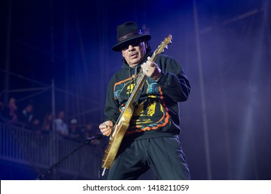 Napa, CA/USA: 5/26/19: Carlos Santana performs at BottleRock. A Mexican and American guitarist who rose to fame in the late 1960s with his Woodstock performance. He's won 10 Grammy Awards.