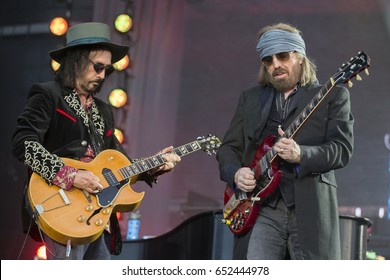 Napa, CA/USA: 5/27/17: Mike Campbell (left) and Tom Petty (right) perform as Tom Petty and the Heartbreakers at the sold out BottleRock in Napa, California.
