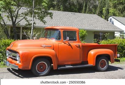 NAPA VALLEY, CA - APRIL 14, 2014: 1956 Ford F-100 Custom Cab Pickup Truck in Napa Valley