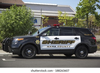 NAPA VALLEY, CA - APRIL 16: Napa County sheriff's car in Yountville on April 16, 2014.