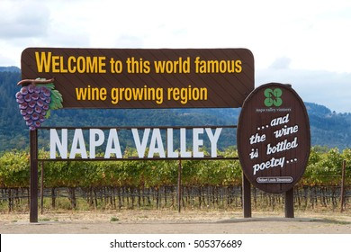 Napa Valley, CA - October 13, 2016: Welcome to Napa Valley Sign in Napa Valley, California. Napa Valley is considered one of the premier wine regions in the world.