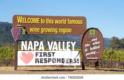 Napa Valley, CA - October 22, 2017: Welcome to Napa Valley Sign in Napa Valley with Love (heart) First Responders, California. Napa Valley is considered one of the premier wine regions in the world.