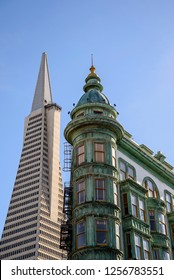Napa Valley, CA, USA - December 1, 2018: Old green building in San Francisco known as Columbus Tower. The oxidized copper produces the green color.