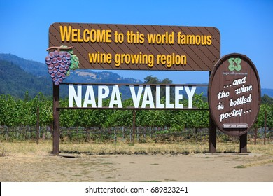 NAPA VALLEY, USA - JUL 12, 2017: Welcome to Napa Valley Sign in Napa valley main entrance.