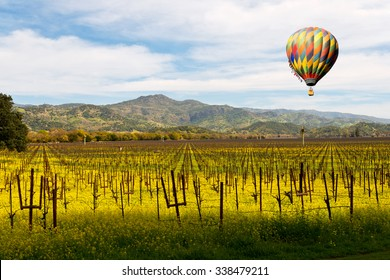 Napa Valley Wine Vineyards, Spring Mustard, Mountains, Hot Air Balloon