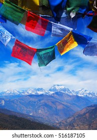 Napal traditional flag with Annapurna mountain scene, Nepal