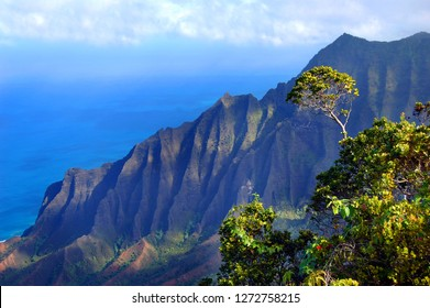 Napali Coast State Park is located in West Kauai.  This overlook shows part of the Kalalau Valley and the Pali Mountains on the Island of Kauai.