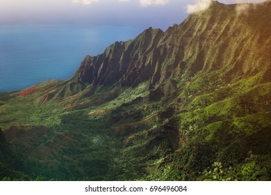 Napali coast view from Waimea canyon, Kauai,Hawaii