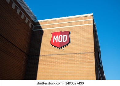 NAPERVILLE, IL, USA - APRIL 19, 2019: MOD Pizza is a fast casual pizza chain restaurant that's popular and growing throughout the United States. Customers can customize their food in their meals.