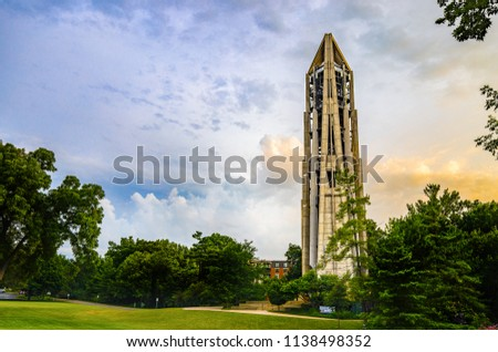 NAPERVILLE, IL, USA - JULY 14, 2018: The Millennium Carillon and Moser Tower were built in 1999 to commemorate the third millennium and 21st century. The area features concerts, parks, and activities.