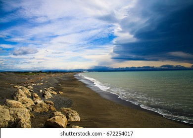 Napier Beach In new zealand with storm cluds