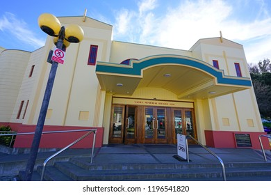 NAPIER, NEW ZEALAND -2 AUGUST 2018- View of a historic Art-Deco building in Napier. Entirely rebuilt after the 1931 Hawke's Bay earthquake, Napier is considered the Art Deco capital of the world.