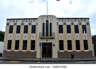 Napier, New Zealand, December 24, 2018: Daily Telegraph building, one of Napier's most famous art deco buildings. After an earthquake in 1931 Napier was rebuilt in art deco style.