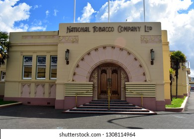 Napier, New Zealand, December 24, 2018: The National Tobacco Company building is one of the most famous buildings in Napier. After an earthquake in 1931 Napier was rebuilt in art deco style.