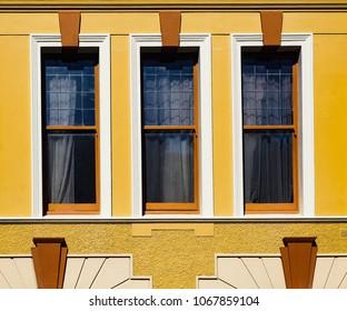 NAPIER, NEW ZEALAND - FEBRUARY 24, 2018: 1930's Art Deco style windows in the North Island city of Napier, New Zealand.