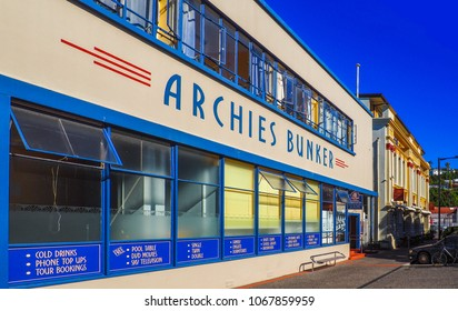 NAPIER, NEW ZEALAND - FEBRUARY 24, 2018: Archies Bunker, the first of the unornamented style of Art Deco buildings to be constructed in Napier after the devastating earthquake of 1931.