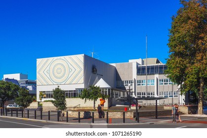 NAPIER, NEW ZEALAND - JANUARY 24, 2018: Napier City Council civic buildings built in 1967 and assessed as earthquake prone in June 2017.