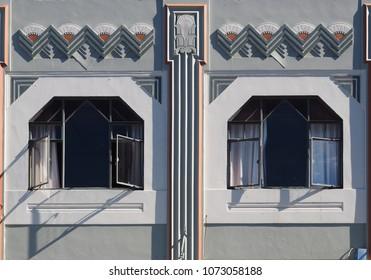 NAPIER, NEW ZEALAND - JANUARY 24, 2018: Closeup of 1930's Art Deco style windows in the city of Napier.