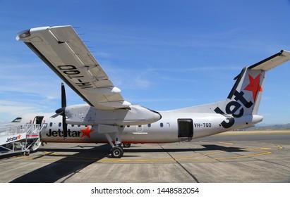 NAPIER, NEW ZEALAND - JANUARY 30, 2019: JetStar Airways plane on tarmac at the Hawke's Bay Airport, Napier, New Zealand