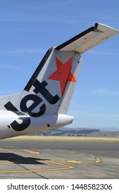 NAPIER, NEW ZEALAND - JANUARY 30, 2019: JetStar Airways plane tail fin at the Hawke's Bay Airport, Napier, New Zealand