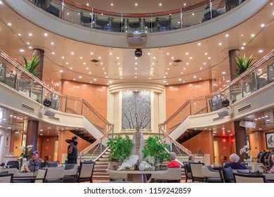 "Napier / New Zealand - March 22 2018: Interior of a Cruise Ship. The Atrium of the P&O Liner ""Pacific Jewel""."