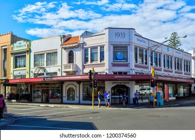 Napier / New Zealand - March 23 2018: Historic 1930s Buildings on Hastings and Tennyson Streets in Napier, the Art Deco Capital of New Zealand