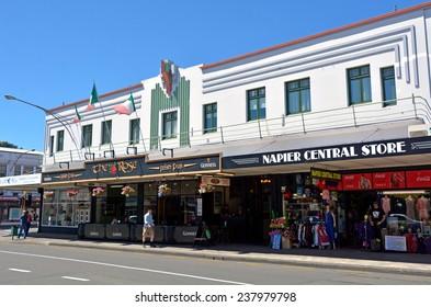 NAPIER, NZL - DEC 03 2014:Art deco Architecture in Napier.It's a popular tourist city with a unique 1930s Art Deco architecture, built after the city was razed in the 1931 Hawke's Bay earthquake.