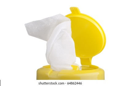 Napkin for cleaning in a plastic container with a white background.