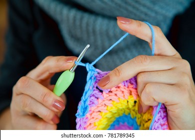 A napkin I crochet. Rainbow color.