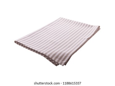 Napkin isolated on white. Multi-colored linen napkins for restaurant. Mock up for design. Top view square.