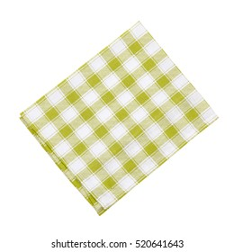 Napkin isolated on white. Multi-colored linen napkin for restaurant. Empty napkin mock up for design. Napkin top view close up. Place for text on napkin.