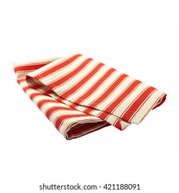 Napkin of linen with red stripes for the dish on a white background isolated