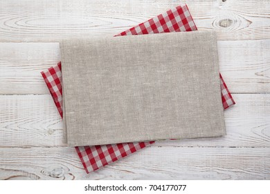Napkin on table in perspective. Napkin close up top view mock up for design. Place for text
