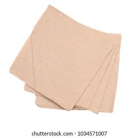 Napkins isolated on white. brown napkin paper for restaurant