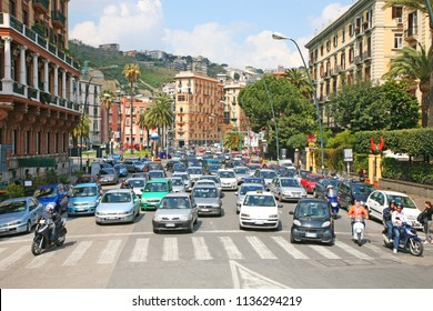 Naples, Campania / Italy - April 15 2015 : Traffic in the city of Naples, Italy