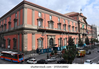 Naples, Campania, Italy - March 5, 2021: The sixteenth-century Palazzo degli Studi seat of the Mann, the National Archaeological Museum of Naples