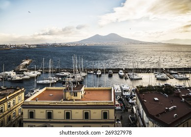 NAPLES - DECEMBER 30: view of the seafront in the bay of the city of Naples on December 30, 2014 in Naples, Italy
