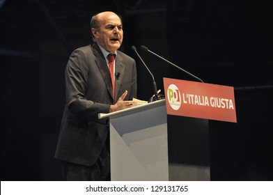 NAPLES - FEBRUARY 21: Pierluigi Bersani speeches at election rally for italian election campaign. Bersani is the leader of italian democratic party. on february 21, 2013 in Naples