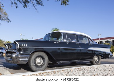 Naples, Fl, USA - March 18, 2017: Black 1957 Chevrolet Belair parked on the street in Naples, Florida, United States