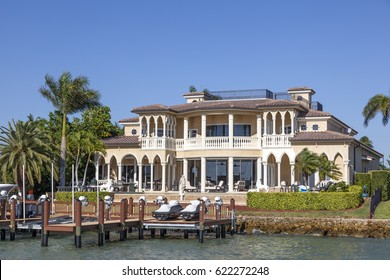 Naples, Fl, USA - March 18, 2017: Luxury waterfront villa in the city of Naples. Florida, United States