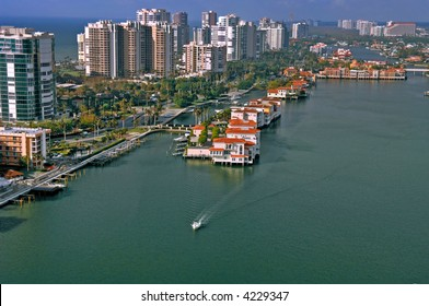 naples florida luxury waterfront homes and condos on inner doctors bay aerial view