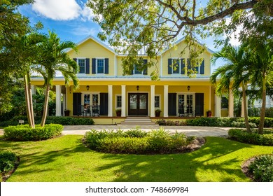 Naples, Florida - November 1, 2017: Classic architecture style home in the historic coastal gulf residential district of Old Naples.