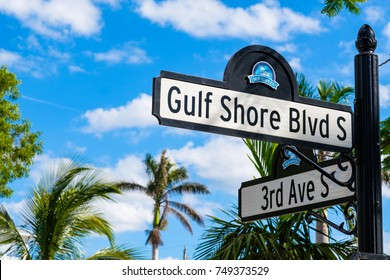 Naples, Florida - November 1, 2017: Scenic Gulf Shore Boulevard street sign in the historic residential district of Old Naples.