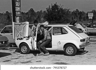 NAPLES, FLORIDA – SEPTEMBER 8, 1979: testing cars in the Florida hot weather. Vintage picture taken in 1979.