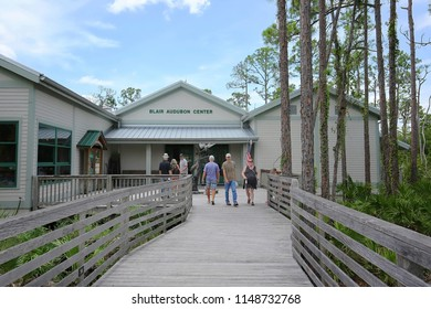 NAPLES, FLORIDA, USA - AUGUST:  Entrance to the Audubon Corkscrew Swamp Sanctuary, a perfect example of the Everglades ecosystem with a 2.5 mile boardwalk as seen on August 2, 2018.