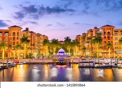 Naples, Florida, USA downtown skyline at dusk.
