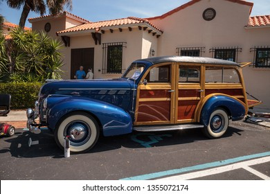 Naples, Florida, USA – March 23,2019: 1940 Pontiac Wagon at the 32nd Annual Naples Depot Classic Car Show in Naples, Florida. Editorial only.