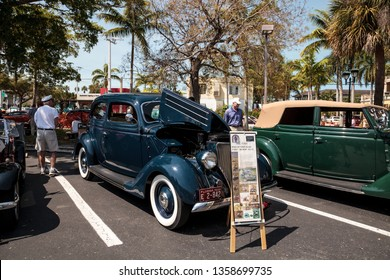 Naples, Florida, USA – March 23,2019: Blue 1936 Ford Model 68 Tudor Deluxe at the 32nd Annual Naples Depot Classic Car Show in Naples, Florida. Editorial only.