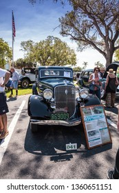 Naples, Florida, USA – March 23,2019: Green 1934 Plymouth Deluxe at the 32nd Annual Naples Depot Classic Car Show in Naples, Florida. Editorial only.